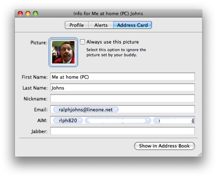 iChat 4 Address Card
